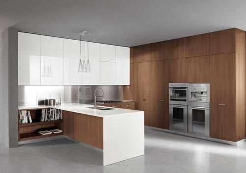 Italian Modern Walnut And White Gloss Lacquer Kitchen Furniture