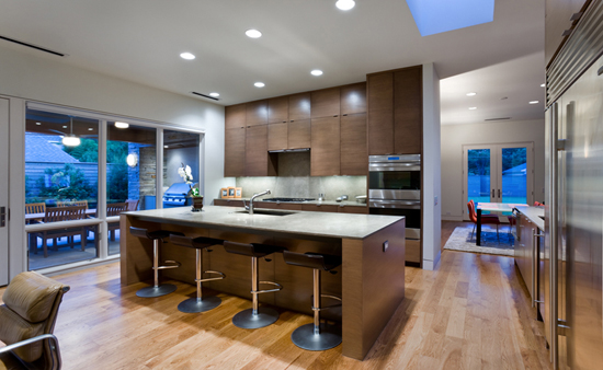 modern kitchen Dallas large island wood floors