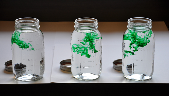 green dye for water in mason jars