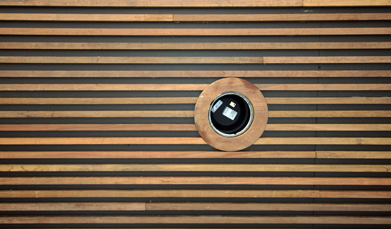 Exterior Ceiling with wood slats
