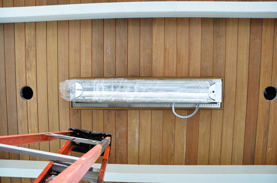 In-line radiant heater in wood ceiling