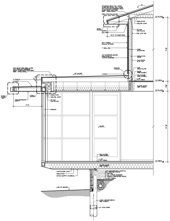 Cantilevered room section 01 for Bay window plan detail