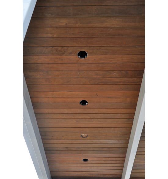 Wood Ceiling centered lights