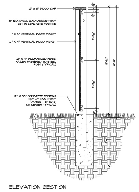 Modern Fence detail - Elevation Section