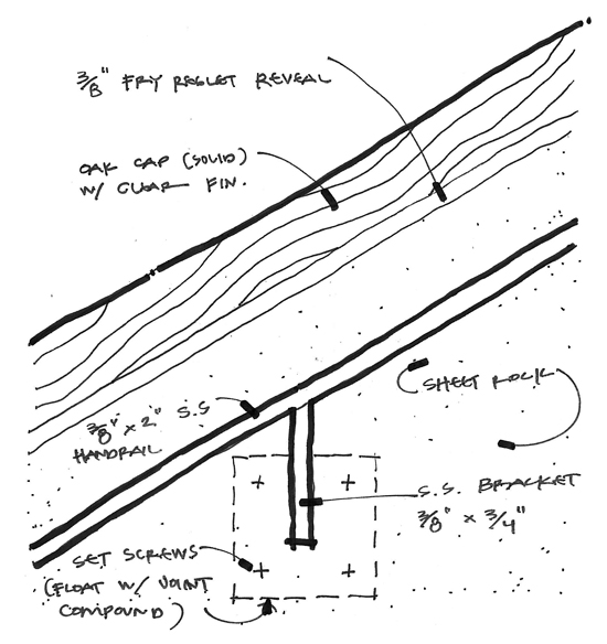 modern handrail detail drawing