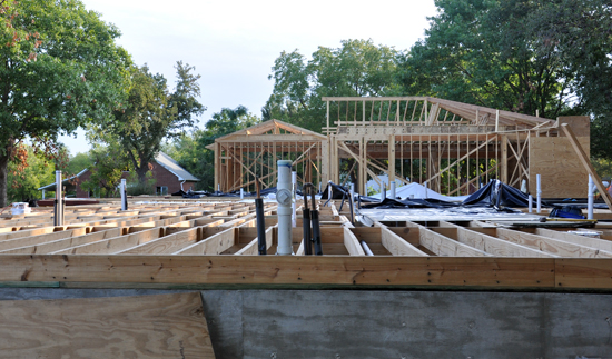 Floor joist framing from front