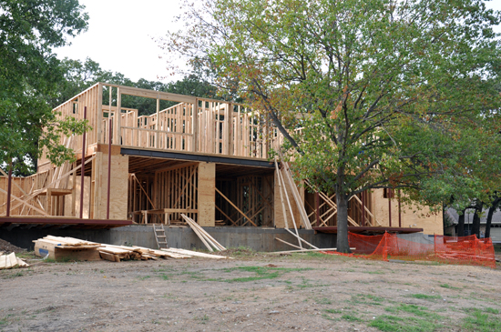 wood framing at rear elevation