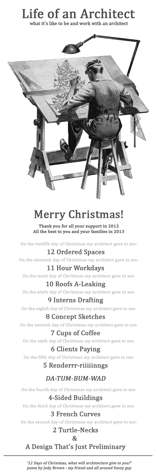 Life of an Architect Merry Christmas 2012 Holiday Card