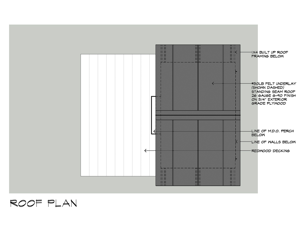 Birdhouse drawings Roof Plan design by Dallas Architect Bob Borson