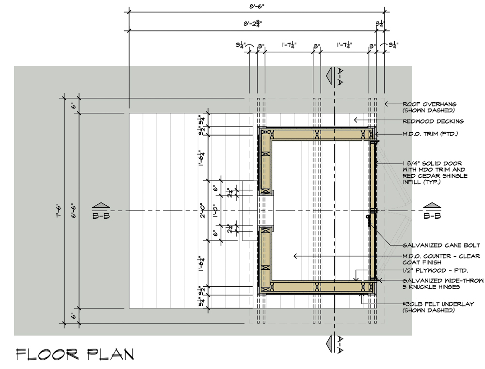 Birdhouse drawings Floor Plan design by Dallas Architect Bob Borson