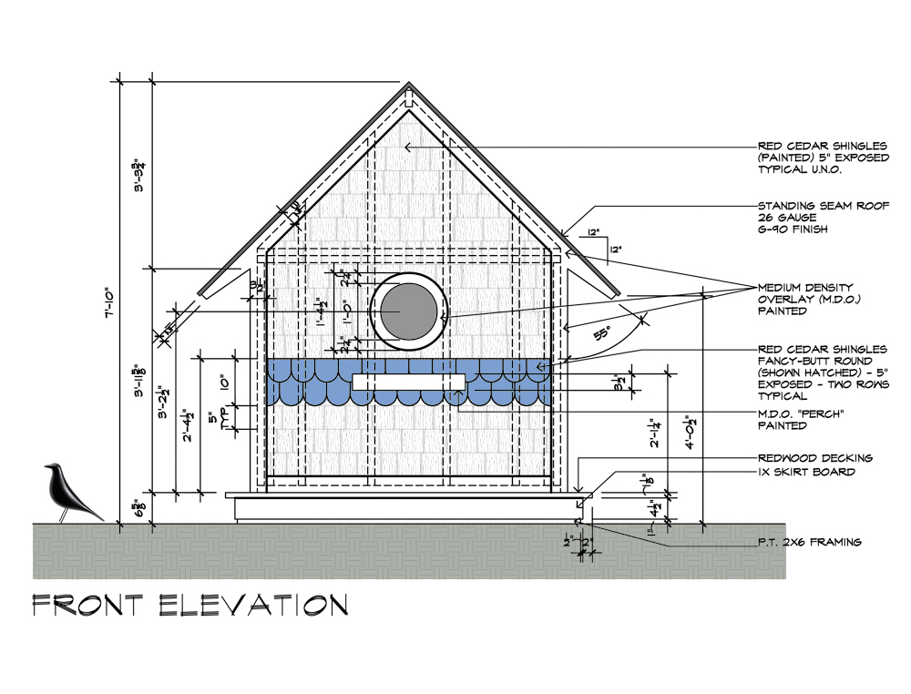 Home Front Elevation Drawings : Birdhouse drawings front elevation design by dallas