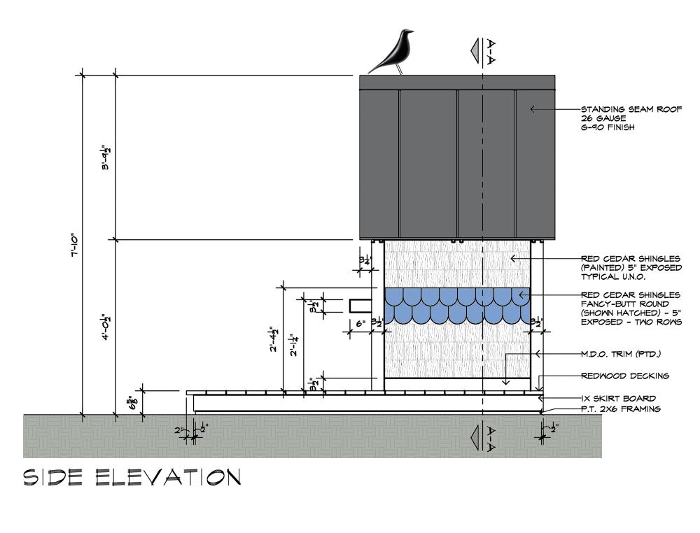Birdhouse drawings Side Elevation design by Dallas Architect Bob Borson