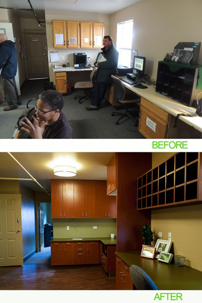 """AEC Cares Denver 2012 - Before and After """"Women's Lounge"""""""