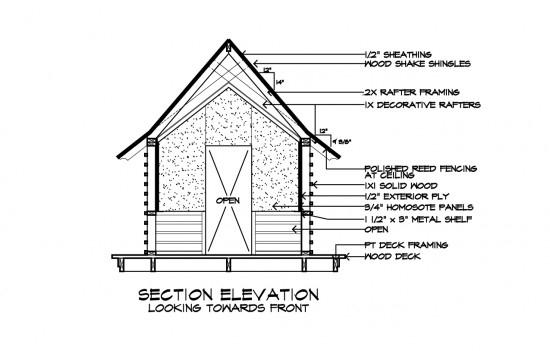 Japanese Playhouse Construction Drawing by Dallas Architect Bob Borson