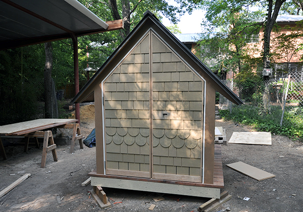 Rear view of the Bird Playhouse with the doors closed