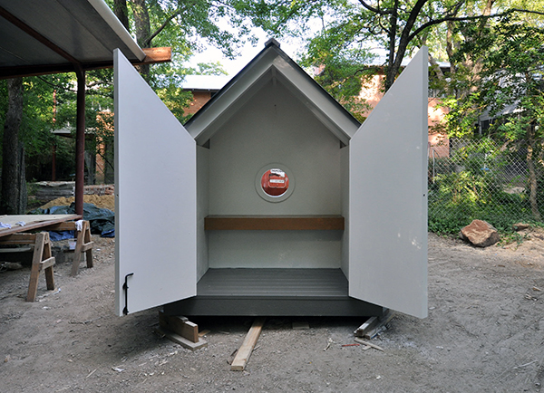 Rear view of the Bird Playhouse with the doors open