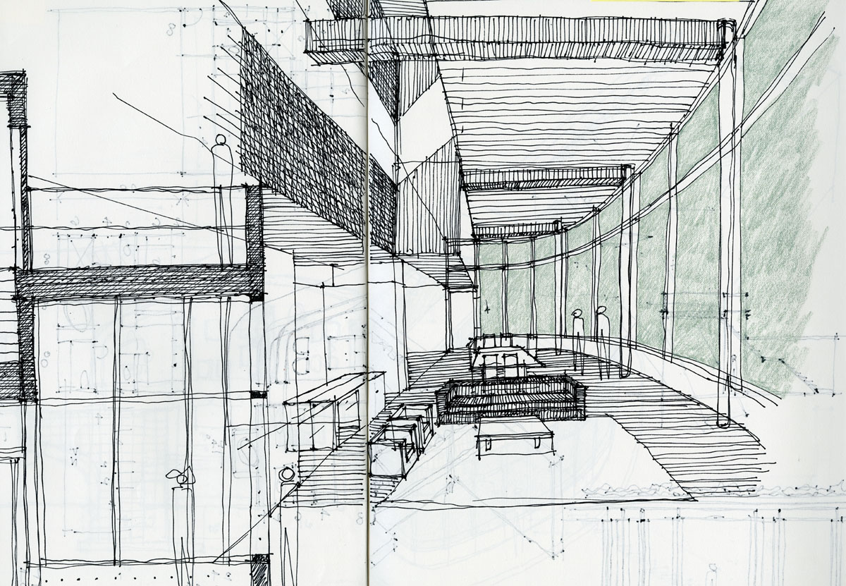 Architectural sketching life of an architect for Interior designs sketches