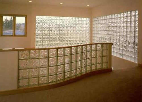 Red Velvet Rope Glass Block Design Wall