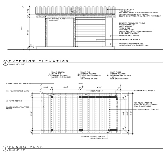 Outdoor Shed Playhouse Construction Drawings by Dallas Architect Bob Borson