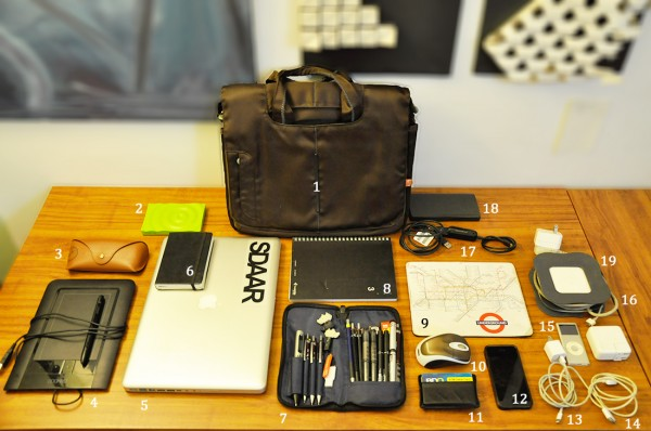 The contents of architect Rafael Ian Pinoy's bag