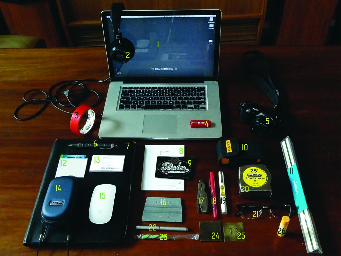 the contents of Graphic Designer Steve Jordan's Bag