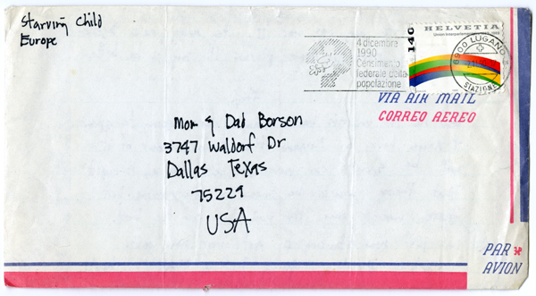 air mail envelope from Europe