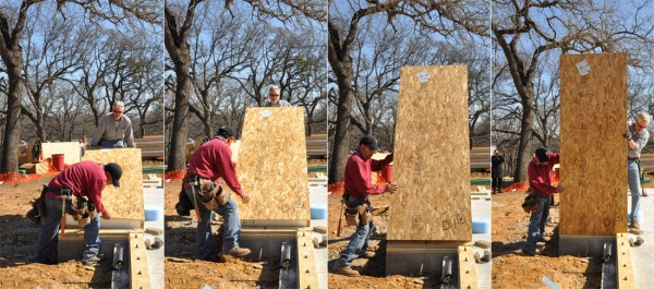 Lifting a SIP into place - Structural Insulated Panels