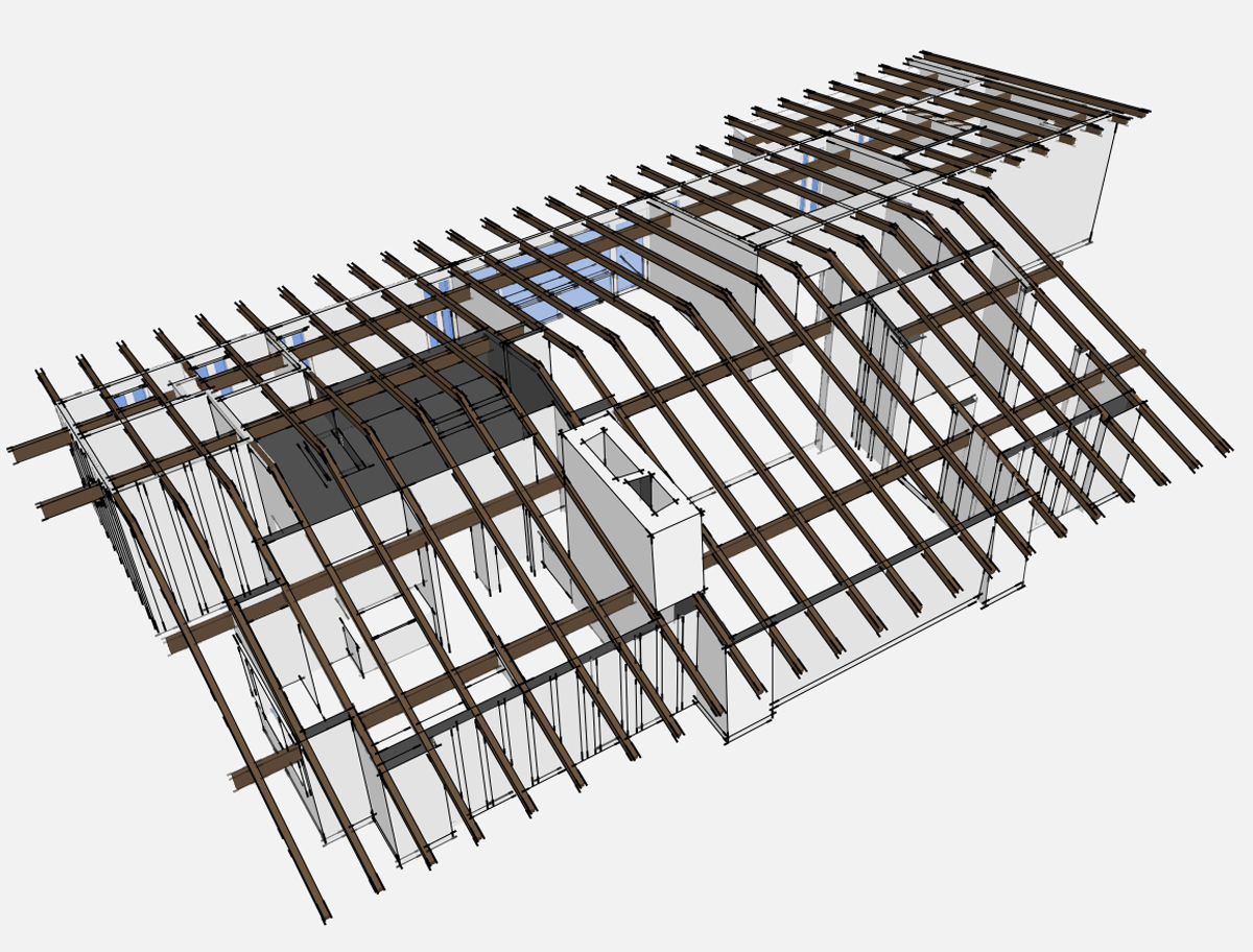 3D house model birdseye view with beams