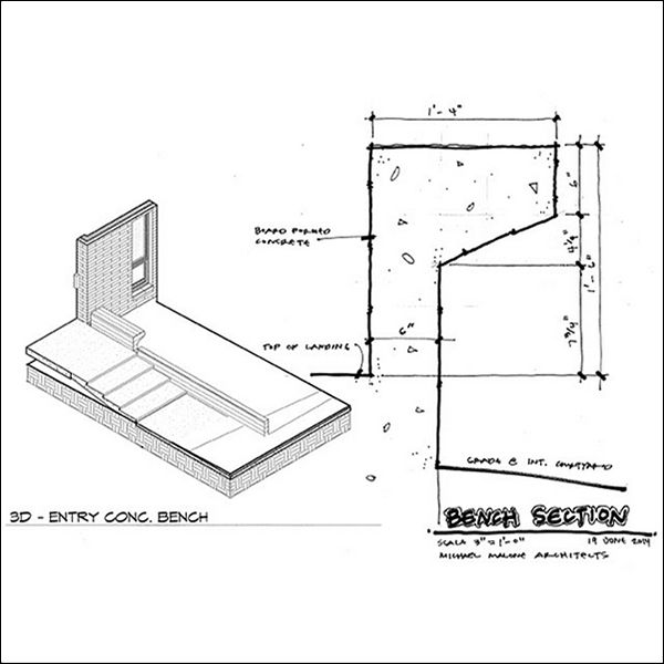 ArchiSketch Bob Borson concrete bench wall design study