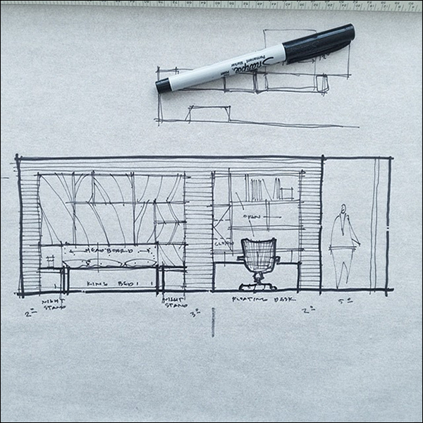 ArchiSketch Bob Borson desk wall design study