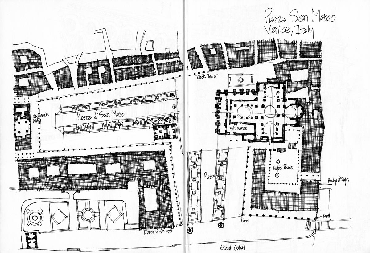 Piazza d' San Marco site plan - sketch by Michael Malone