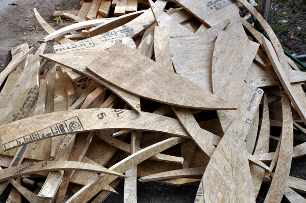 plywood scraps from cutting out the oculus