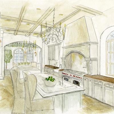 Jackie Vargas Kitchen to Breakfast Room thumbnail Sketch