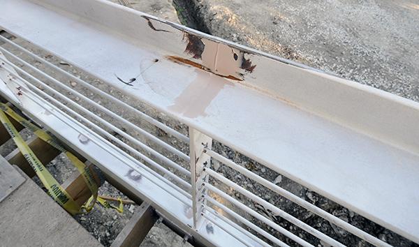 Bondo on a metal handrail