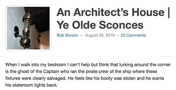 Bob Borson - An Architects House Ye Olde Sconces