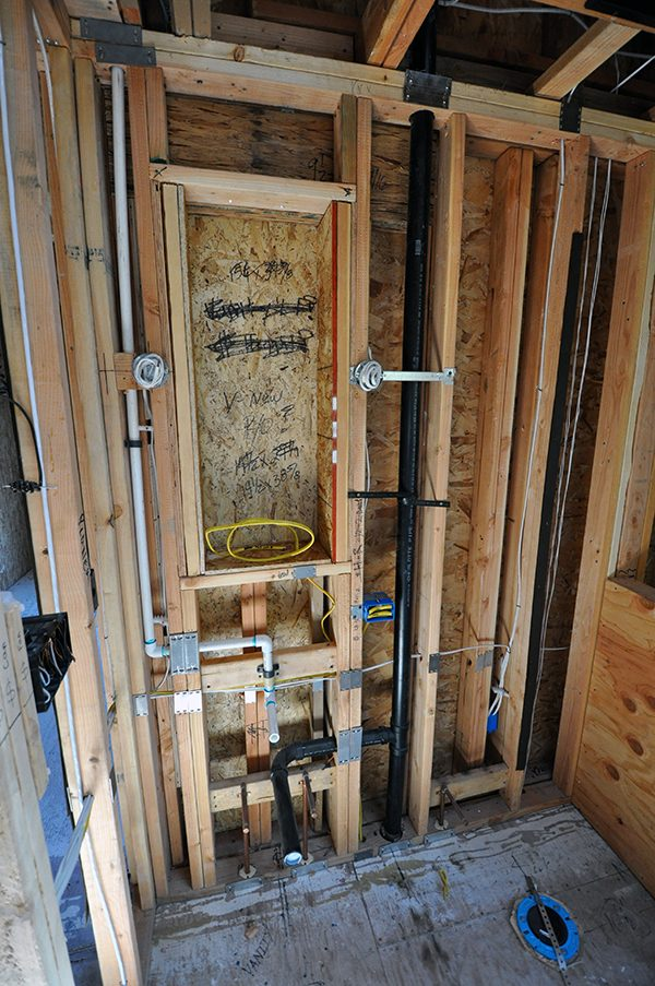 Bathroom wet wall layout