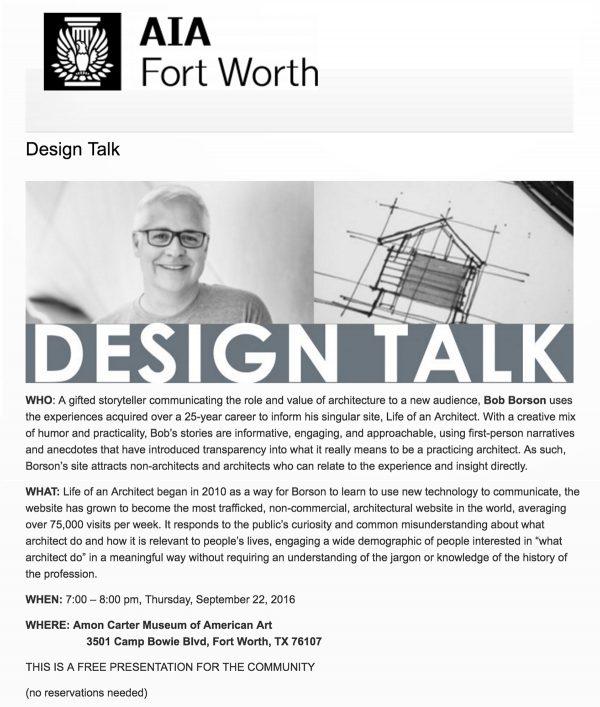 Bob Borson at AIA Fort Worth 'Design Talk'