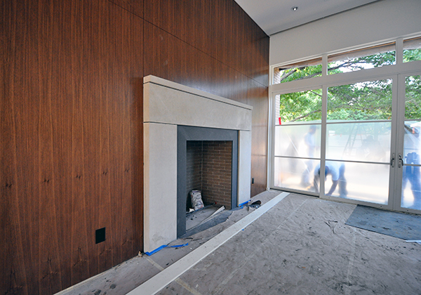 main living room fireplace-surround-overview - putting up protection