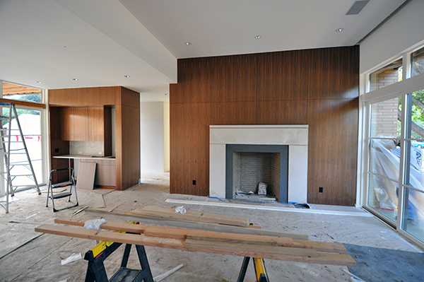 main living room-mantle installation