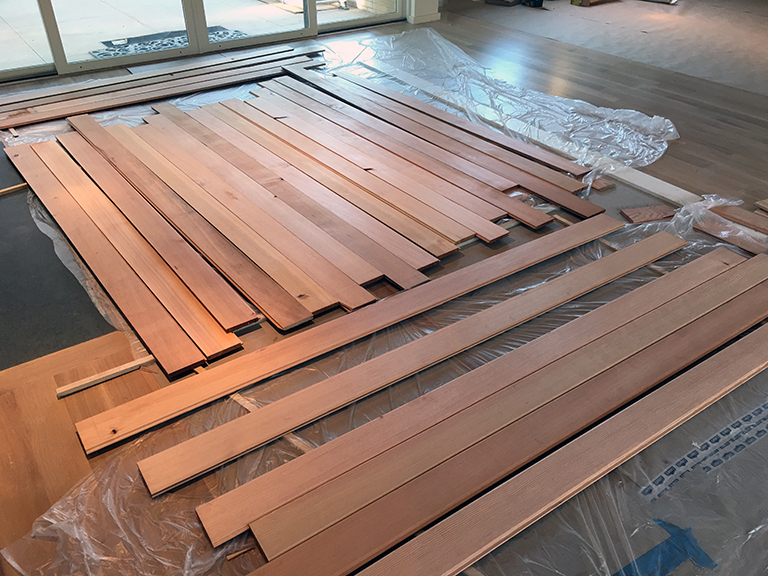 unfinished Douglas Fir boards for entry door