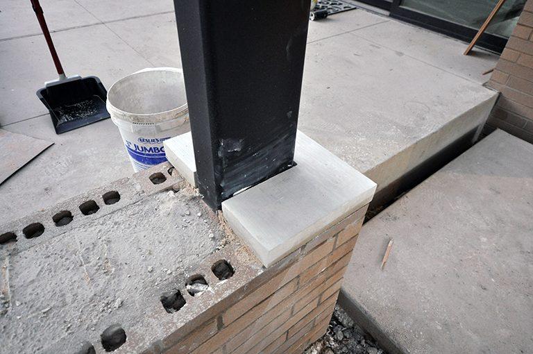Leuders Limestone cap on brick low wall