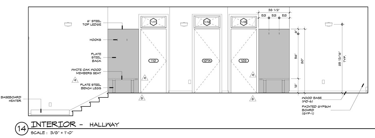 CAD Elevation of Benches in Hallway