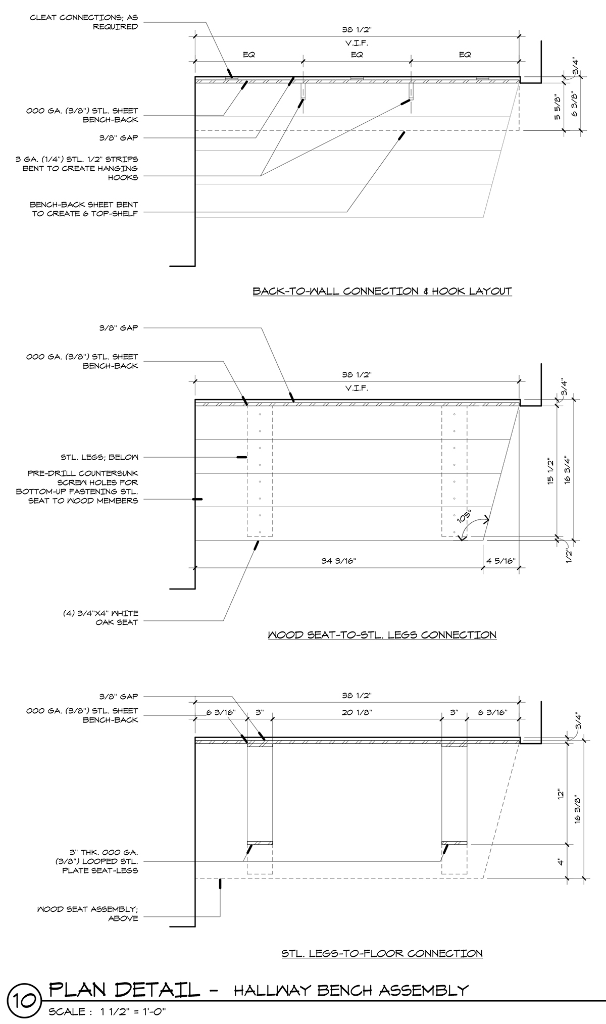 CAD Plan Details of Benches in Hallway 01