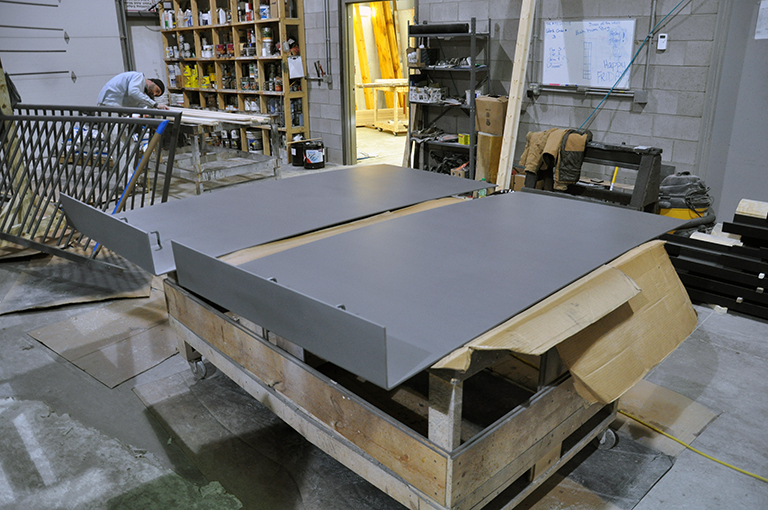 Steel bench back panels in the shop
