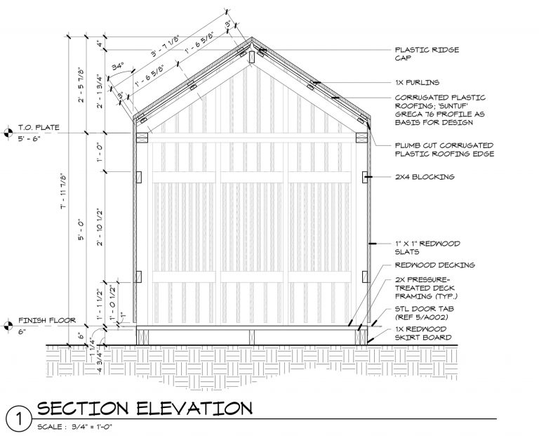 The Grasshopper House - 1 Section Elevation