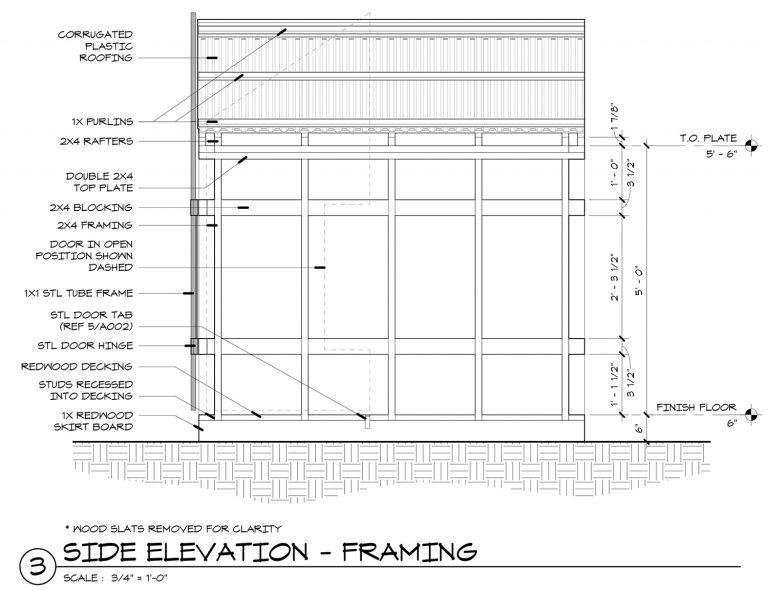 The Grasshopper House - 3 Side Elevation Framing by Dallas Architect Bob Borson FAIA