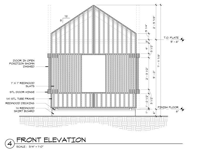 The Grasshopper House - 4 Front Elevation by Dallas Architect Bob Borson FAIA