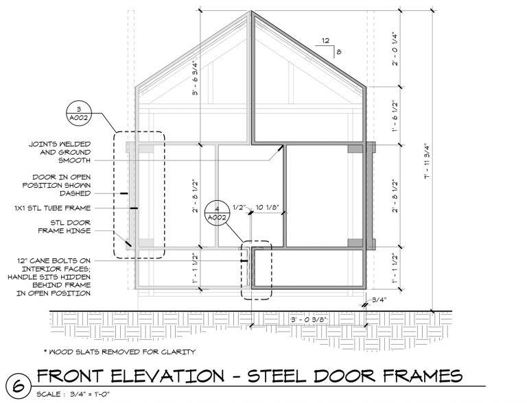 The Grasshopper House - 6 Front Elevation Steel Frame Gates