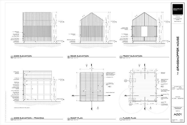 The Grasshopper House - The Construction Documents by Dallas Architect Bob Borson FAIA
